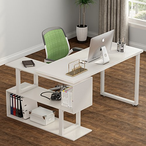 Tribesigns Modern L Shaped Desk 55 Rotating Desk Corner Computer Desk Study Writing Table