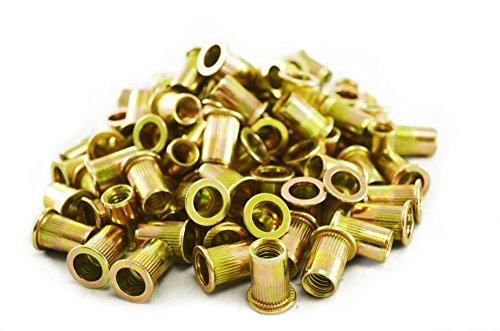 uxcell 1/2 Inch Knurled Rivet Nut Insert Nutsert Bronze Tone 10pcs