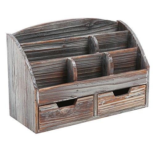 Made Of Sy Wood With A Rustic Distressed Finish This Desktop Organizer Boasts Total 6 Compartments In Diffe Sizes And On 3 Levels
