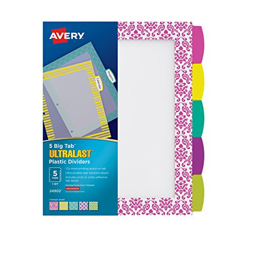 Avery Big Tab Reversible Fashion Dividers 5 Tabs 1 Set Assorted