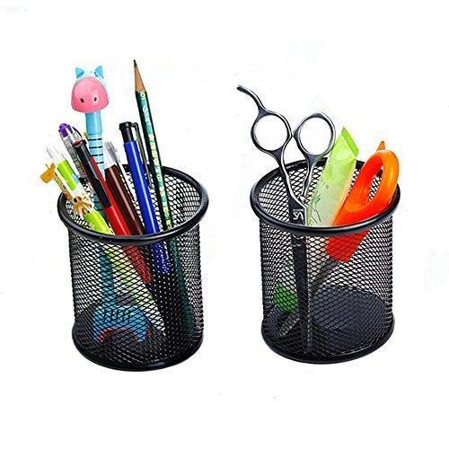2 pcs Desk Organizer Metal Black Mesh Design Pen Pencil Holder Container Tray