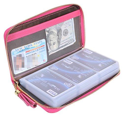 b1fc9ff4ee3d MaxGear Women's Credit Card Case Wallet 2 ID Window and Zipper Card ...