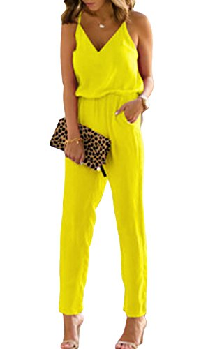 e83e792438a Sexy v neckline jumpsuit supported on thin straps