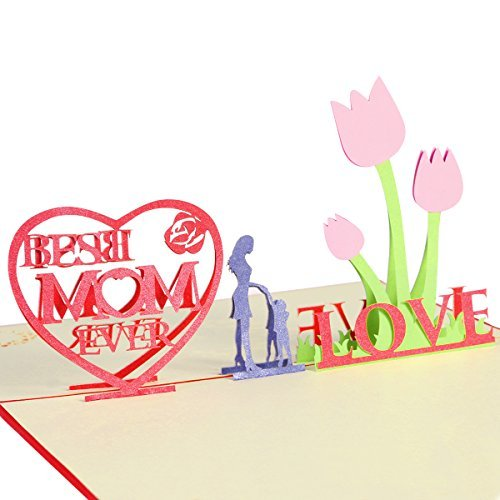 Mothers Day Cards With Envelope Best Mom Ever 3d Pop Up