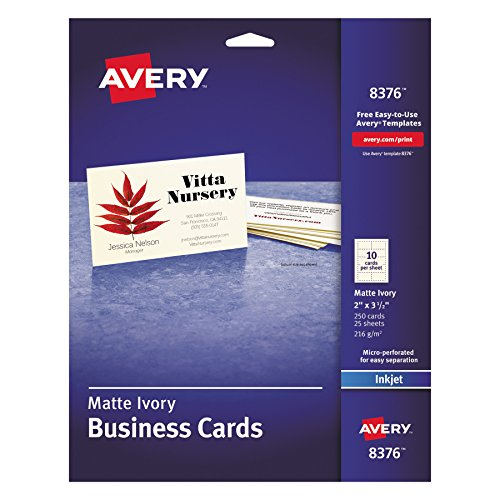 Avery 8371 printable microperf business cards inkjet 2 x 3 12 youll get professional looking business cards that look like they came from a print shop make the right impression every reheart Gallery