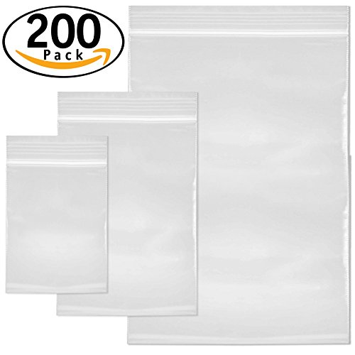 e1eb4a119d7d DecorRack 200 Resealable Clear Plastic Bags, 3 Size Variety Pack 3.5 ...