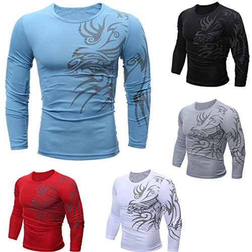 bb4b0dbae Jushye Mens' Long Sleeve T Shirt, Mens Fashion Printing Casual Tops Blouse  T Shirts