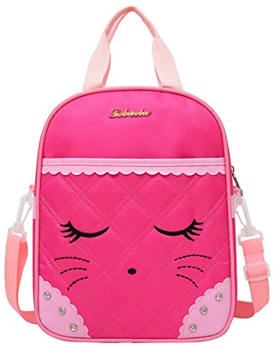 9eb3c6f5509 Cute Cat Face Bow Diamond Bling Waterproof Pink School Backpack Girls Lunch  bags Rose