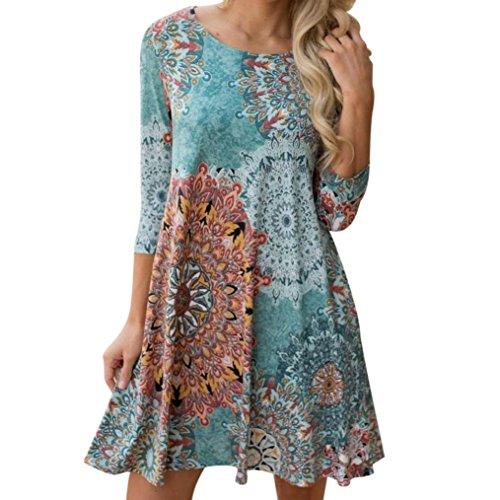 552c0a1b1a KESEE Vintage Boho Maxi Beach Floral Dress Casual Loose T-Shirt Dress