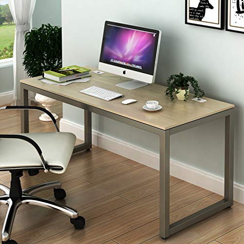 SHW Home Office 55-Inch Large Computer Desk, Silver Frame